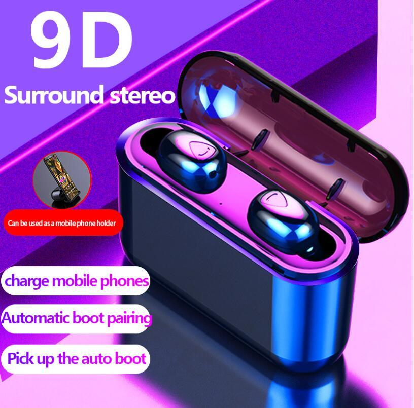 X8S X9 Bluetooth TWS 5.0 Echte drahtlose Earbuds 9D Stereo Bluetooth Kopfhörer Mini TWS Wasserdichtes Headfrees mit LED-Display-Box Lade