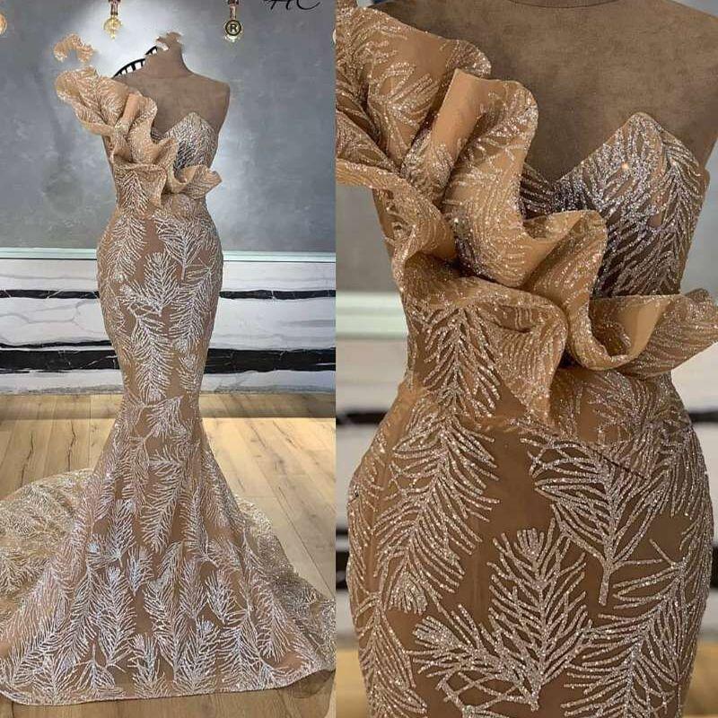 Nueva llegada larga sirena Champagne Glitters Abendkleider árabe vestido de noche 2019 Robe De Soiree Longue vestidos formales del partido