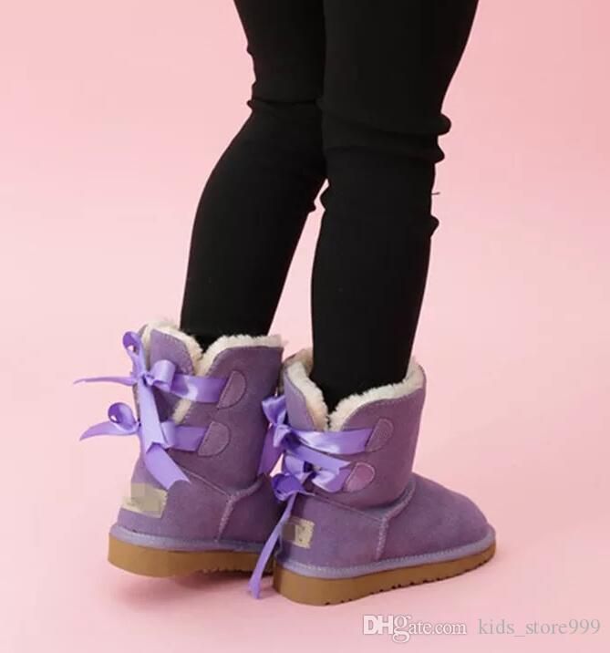 2021 Bambini caldi Bailey 2 Archi Boots Leather Toddlers Stivali da neve Solid Botas de Nieve Winter Girls Calzature per ragazze Bambini Boots 63