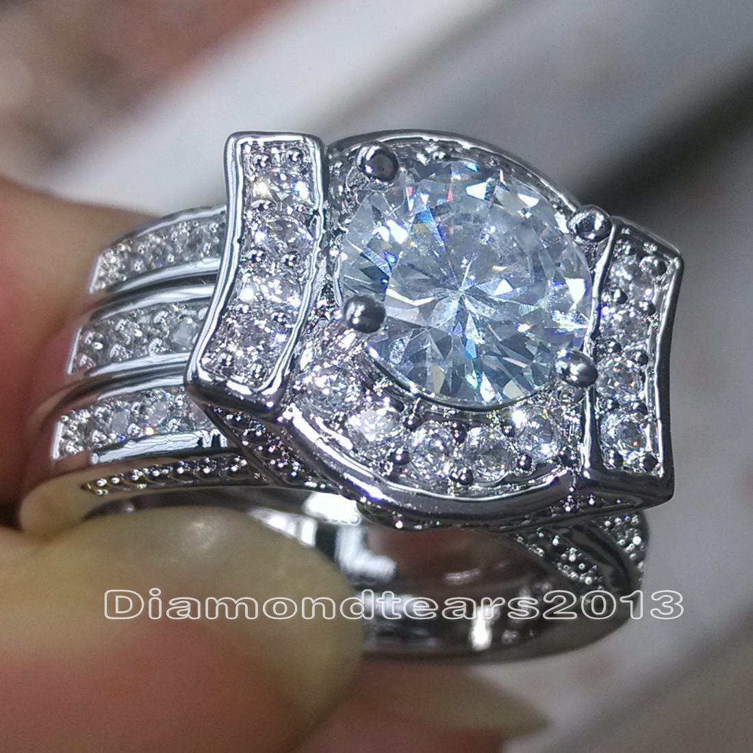 Taille 5-11 Bijoux Fashion 14kt or blanc blanc Rempli Round Cut diamant Simulé Topaze CZ engagement des femmes de mariée doigt Bague