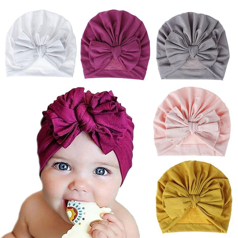 1pcs 2020 Summer infant Beanie Turban Hat Baby cotton big bowknot Hairband Flower Hair Bows Headband Photography Props caps