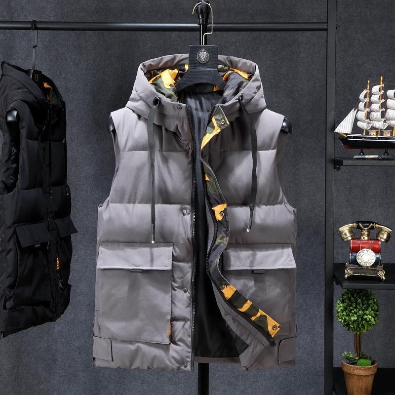 Chaquetas de invierno casual para hombre grueso Chalecos sin mangas con capucha abrigos Hombre de algodón acolchado delgada caliente Gran bolsillo del chaleco
