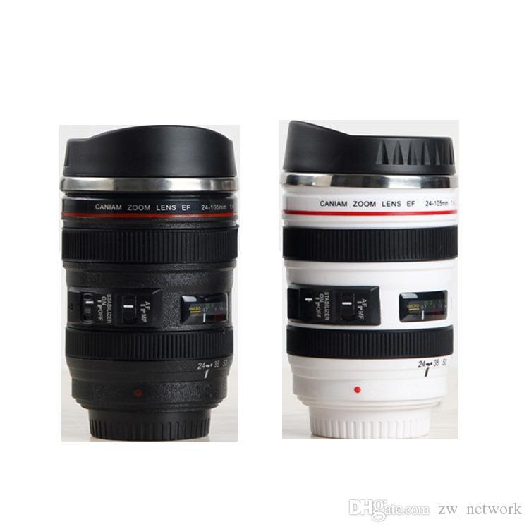 시뮬레이션 렌즈 컵 크리 에이 티브 Caniam 카메라 렌즈 커피 컵 400ml 스테인리스 여행 낯짝 카메라 Eos 24-105mm 뚜껑이있는 마시는 컵