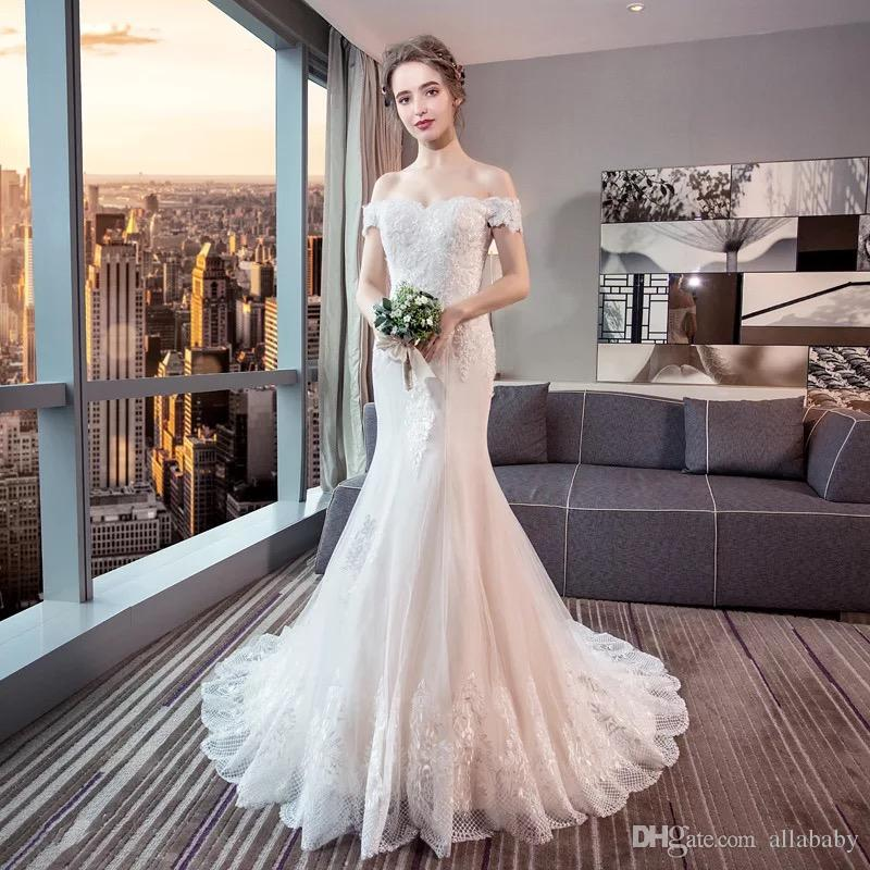 3c2eabd20b ... Muy asequible precio fuera del hombro elegante encaje afilado vestidos  de novia para la venta de