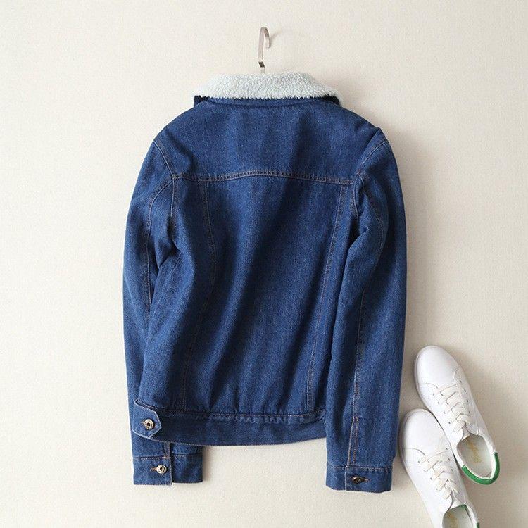 moda feminina lambswool grossa jaqueta jeans Outono 2020 quente de inverno outwear sólida coat jean ocasional feminina frete grátis