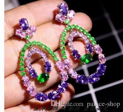 Moda low pirce alta qualidade diamante cristal zircão 925 brincos da senhora de prata 118er