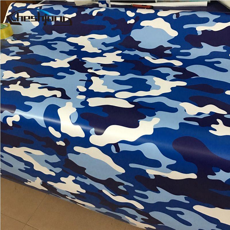 أزرق أبيض كامو الفينيل الجيش الجوي التمويه مطبوعة ماتي الانتهاء سكوتر دراجة نارية سيارة التفاف الفينيل ورقة لفة