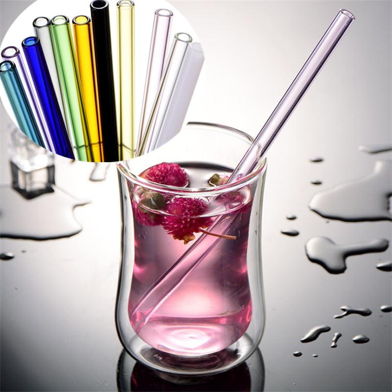 New Colorful Clear Glass Straws Smoothie Reusable Wedding Birthday Party Drinking Straw For Milkshake Frozen Drinks Thick Straws