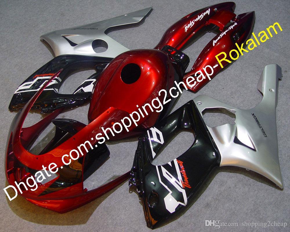 Kit de pièces de rechange pour moto YZF600R Pièces Kits de capot de protection pour Yamaha YZF 600R Thundercat 1997-2007 Rouge foncé Noir