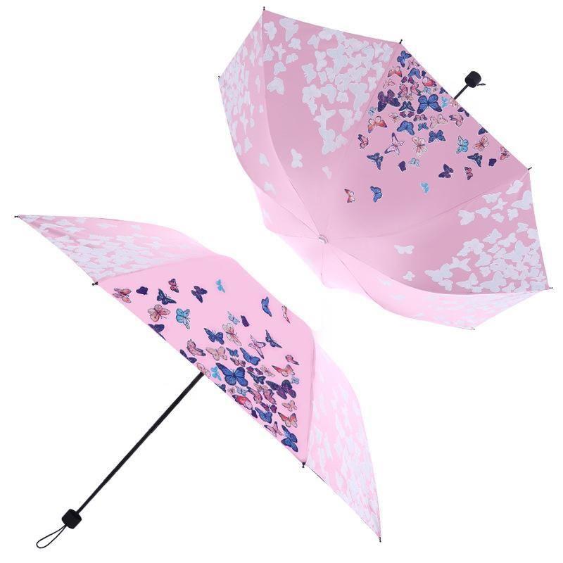 Women's Portable Three Folding Umbrella Creative Water Discoloration Umbrellas Gift Windproof Anti-UV 8K Parasol