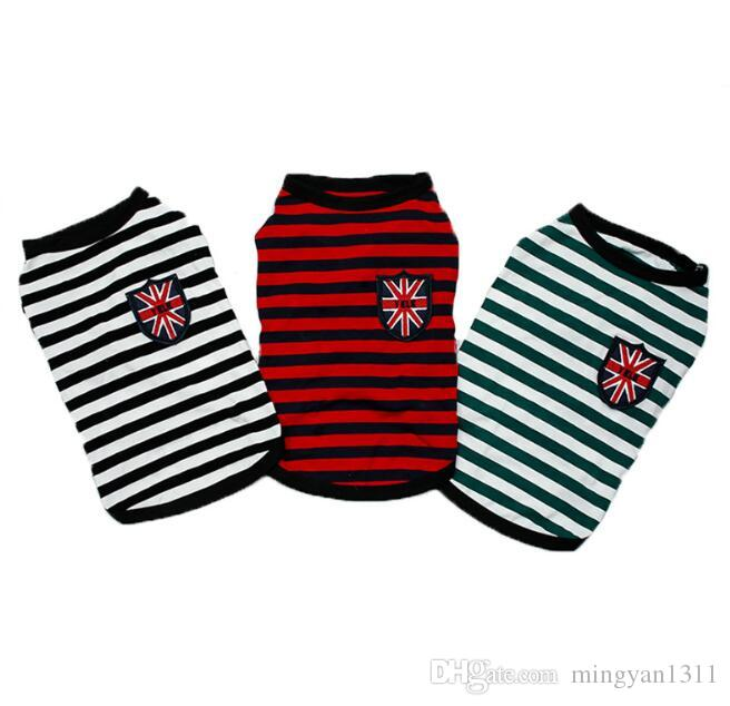 3 colors New Designed dog clothes Pets dogs t shirt for small pets puppy Cotton vest Clothing British stripes Factory directly sales