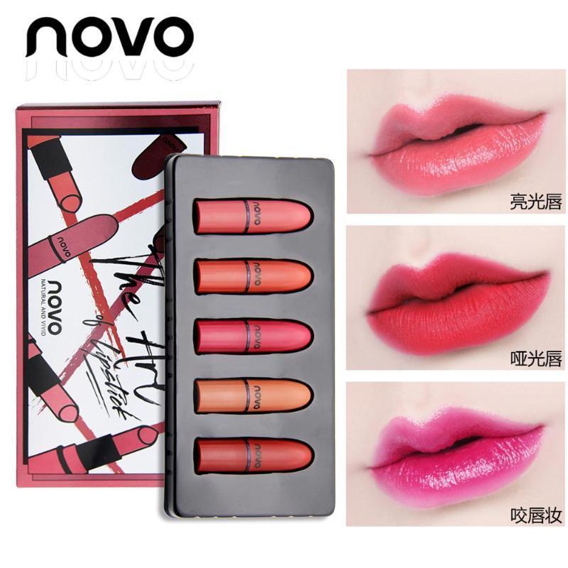 2020 Barra de labios mate Set de 5 colores desnuda Natrual terciopelo lápiz labial hidratante Mini Batom impermeables del maquillaje de los labios del palillo