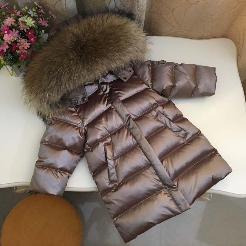 2021New Inverno Bambini Down Jacket Bambino Baby Boys Girls Addensare Real Fur Collar Capispalla Bambini Parkas Cappotto