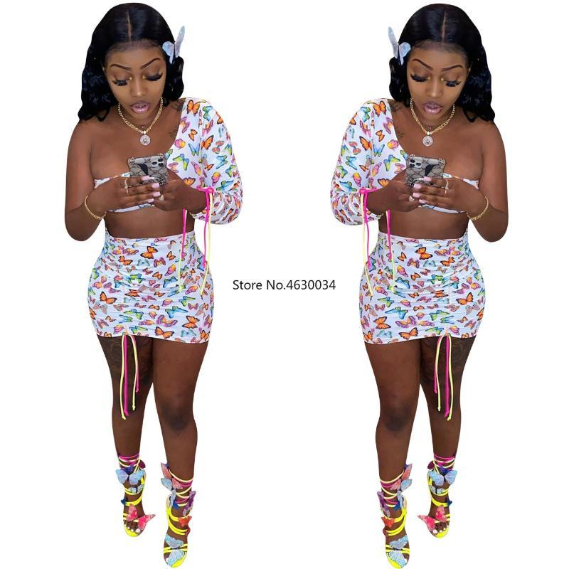 Sommer-Frauen-Sets Kleider Schmetterlings-Druck Crop Tops + Röcke Anzüge Sexy Zweiteiler Nachtclub-Party Tracksuits Straße GL8201