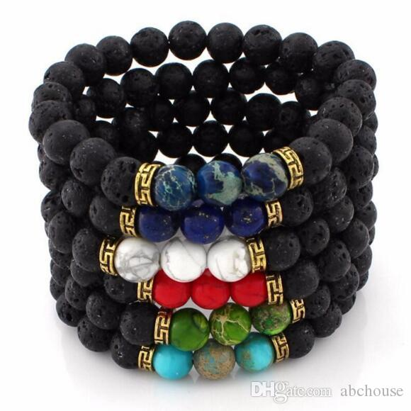 Modeschmuck Neue Ankunft Lava Rock Perlen Charms Armbänder Perlen Armband männer frauen Naturstein Stränge Armband