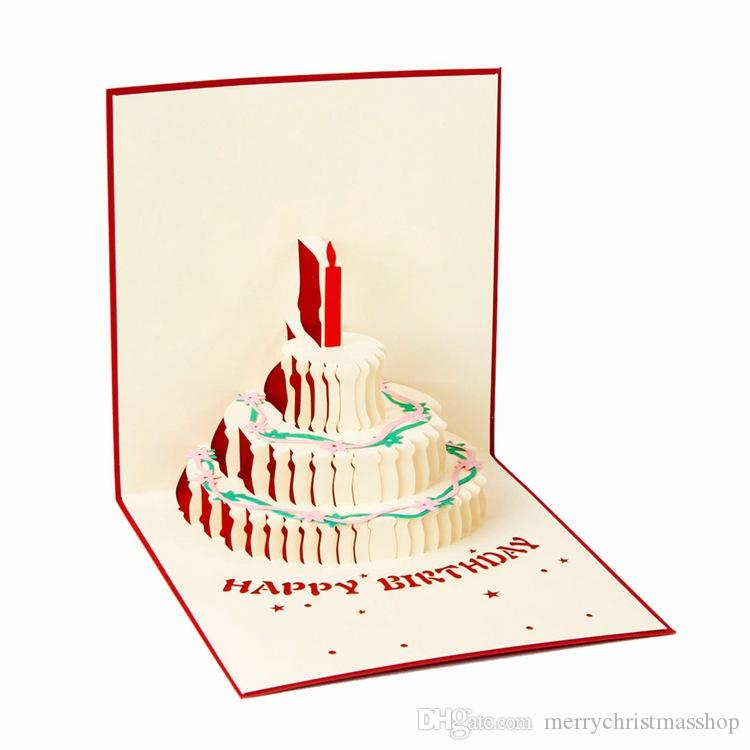Papel 3D Pop Up Tarjeta de pastel de cumplea/ños Tarjeta postal de color rojo Tarjeta de regalo Etiqueta de amor para aniversario Regalo de cumplea/ños Hecho a mano