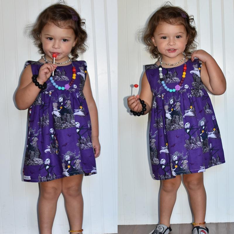 Хэллоуин новорожденных девочек призрак печатных платье малышей дети рукавов праздничная вечеринка Принцесса пачка платья сладкий хлопок сарафан 1-6 Т