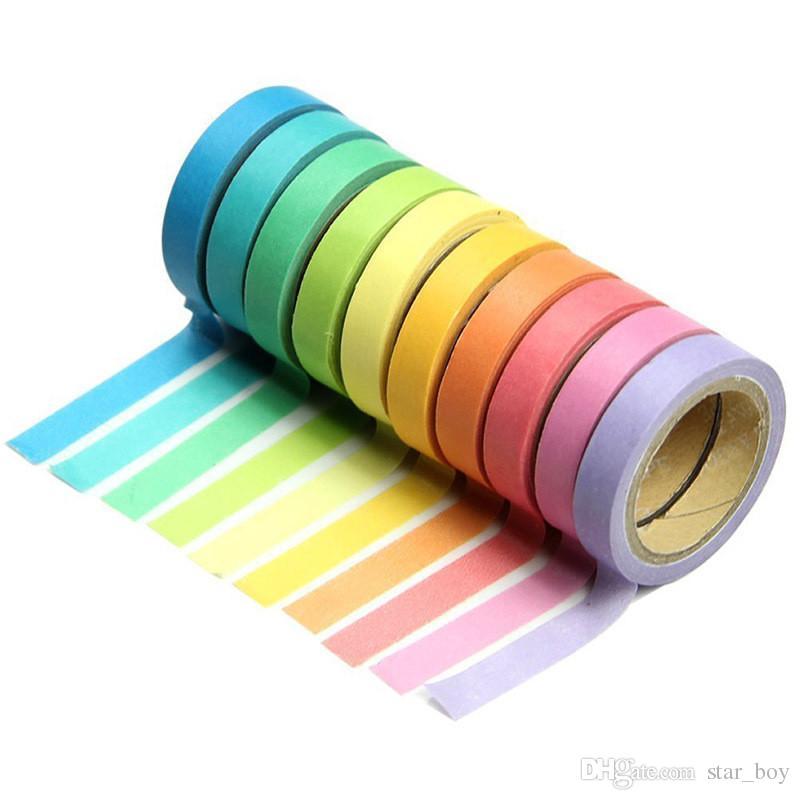 Colori caramella stile japenese Adesivo Washi Arcobaleno Nastro Memo fai da te Washi tape Lavaggio Papeleria Scuola Cartoleria Negozio Accessori per ufficio