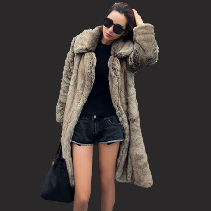 여성을위한 가짜 모피 코트 (207) 패션 새로운 높은 모조 모피 코트 밍크 여성 섹션 밍크 긴 섹션 대형 코트