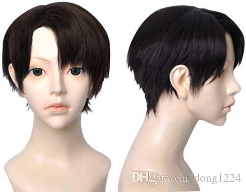 Attack on Titan Levi Wig Short Black Synthetic Hair Cosplay Wigs + Wig Cap