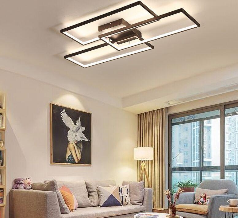Aluminium Cadre Noir / Blanc Moderne Couleur Led de plafond pour le salon Chambre 110v 220v Déco Dimmable lampe de plafond Luminaires Myy