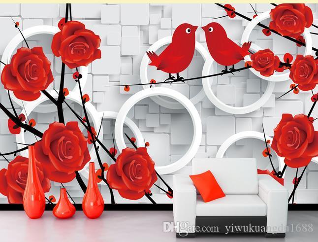 로맨틱 로즈 사랑 새 3D TV 배경 벽 3D 벽화 벽지 거실