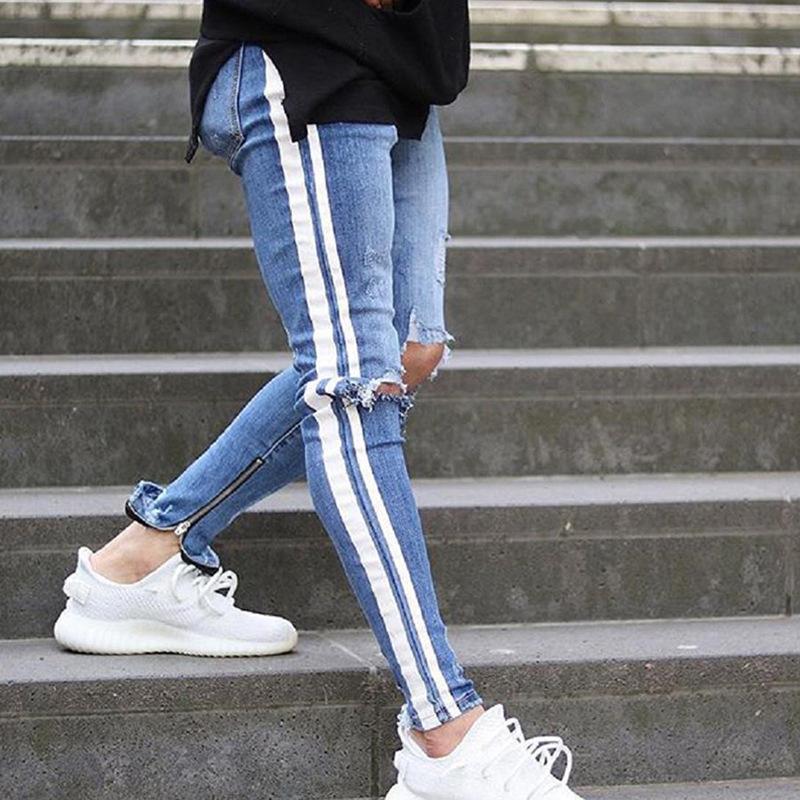 Мужские колено отверстие джинсы осень спортивные брюки Slim мужские леггинсы