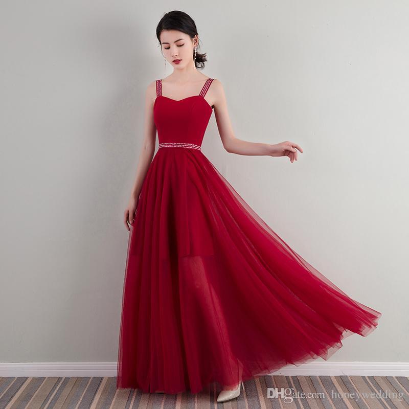 Compre Vestidos De Noche Rojos De Vino Más El Tamaño 2019 Vestidos De Baile Vestido De Noche De Longitud De Espagueti Vestido De Fiesta A 8137 Del