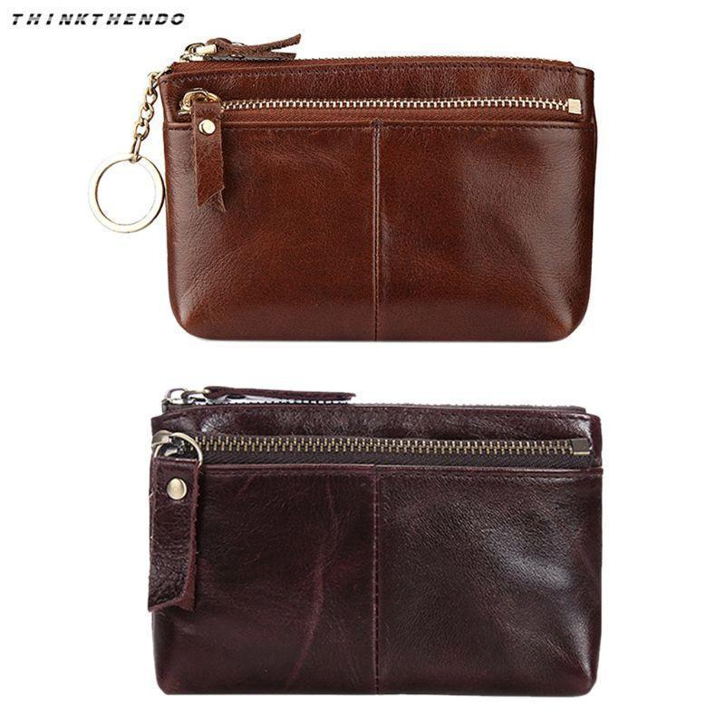 Pop2019 THINKTHENDO Mini Women Lady Leather Key Ring Change Wallet Coin Purse Card Pouch Zipper Small Handbag