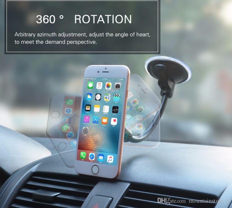 Recém Universal Telefone Móvel Dashboard / Windshield Car Longo Gooseneck Titular Suporte Magnético para Gps Smartphone Celular (Varejo)