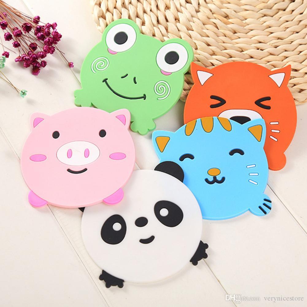 1 Adet Silikon Yemek Masası Placemat Coaster Mutfak Aksesuarları Mat Kupa Bar Mug Karikatür Hayvan Panda Kurbağa Kedi Domuz Pedler Sıcak Satış, İçki