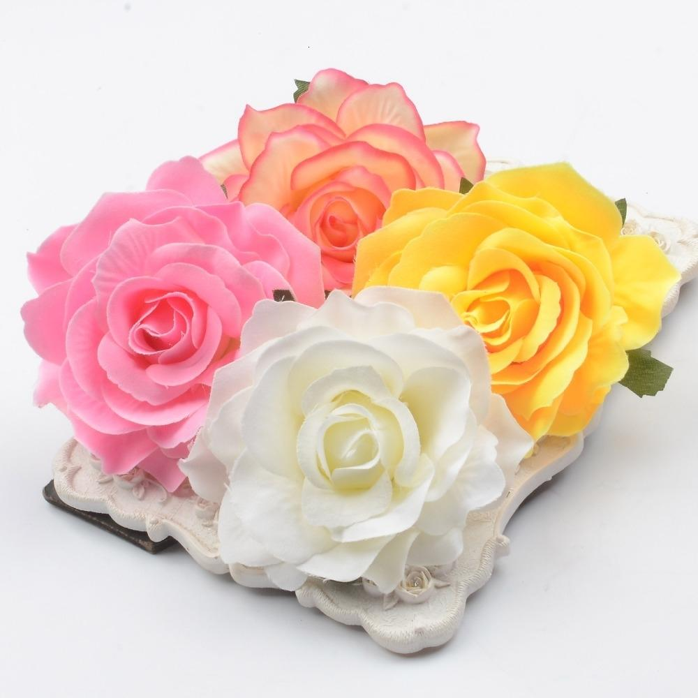 30pcs 10cm Large Artificial Rose Silk Flower Heads For Wedding Decoration DIY Wreath Gift Box Scrapbooking Craft Fake Flowers T191102