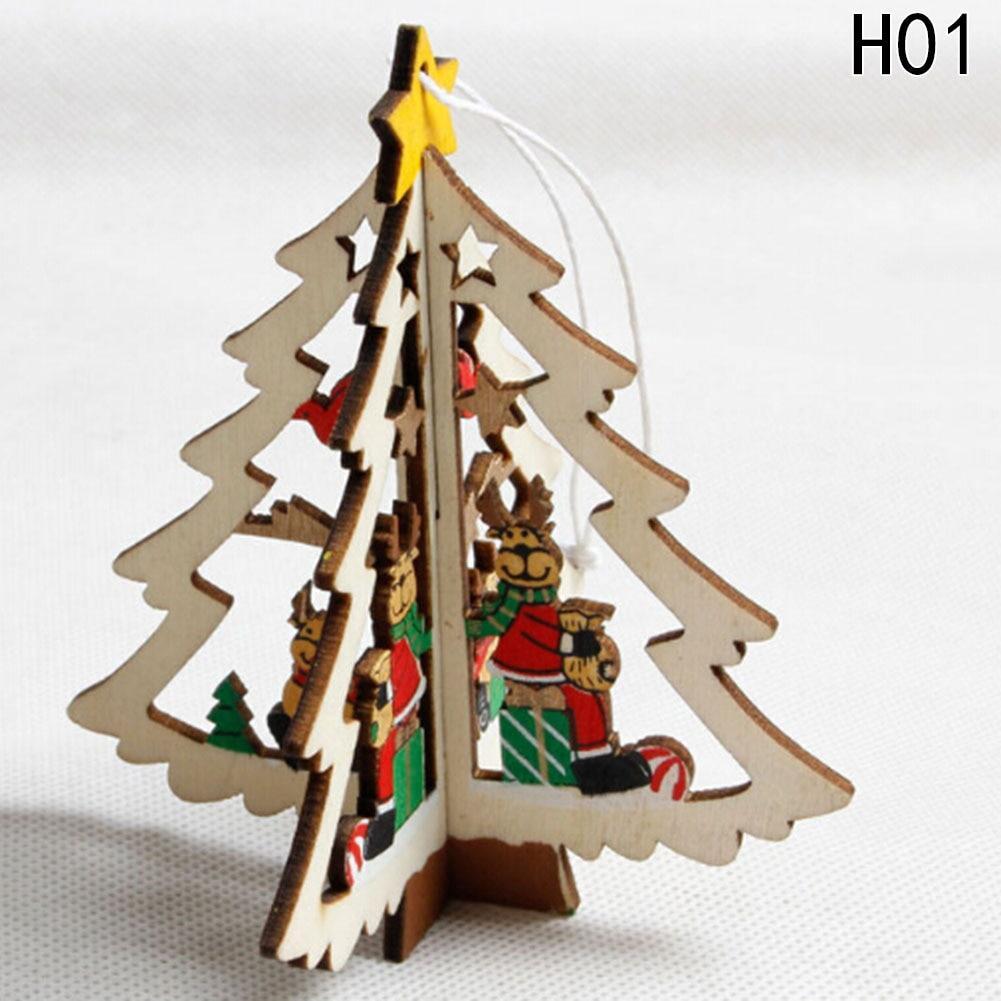 Snowman Wooden Pendants Christmas Tree Hanging Ornaments Xmas Decoration