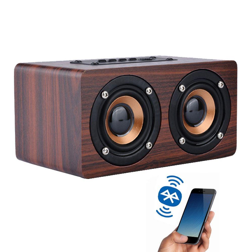 아이폰 X XS 최대 삼성 자동차 음악 스피커를위한 나무 미니 무선 블루투스 스피커 서브 우퍼 휴대용 무선 듀얼베이스 스테레오 스피커
