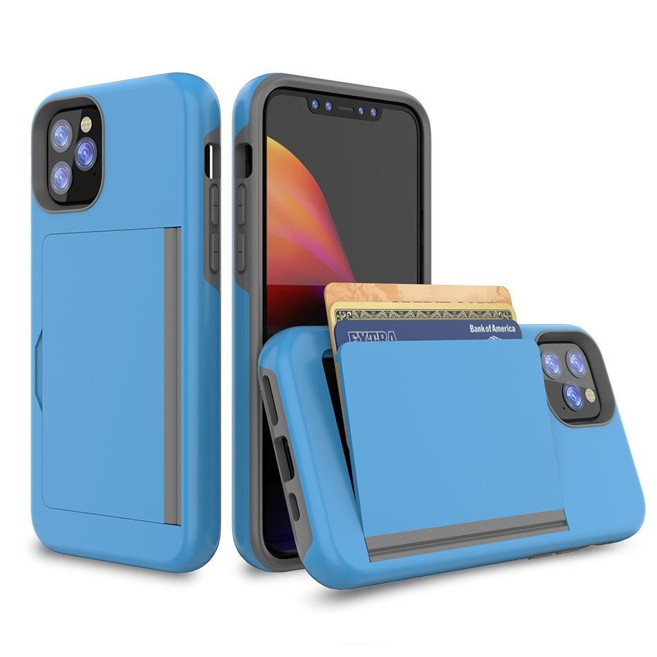 para iphone 8 Plus X Xs XR 11 Pro Max 5.8 6.1 6.5 Funda Ranuras para tarjetas Soporte de pie A prueba de golpes Protección trasera