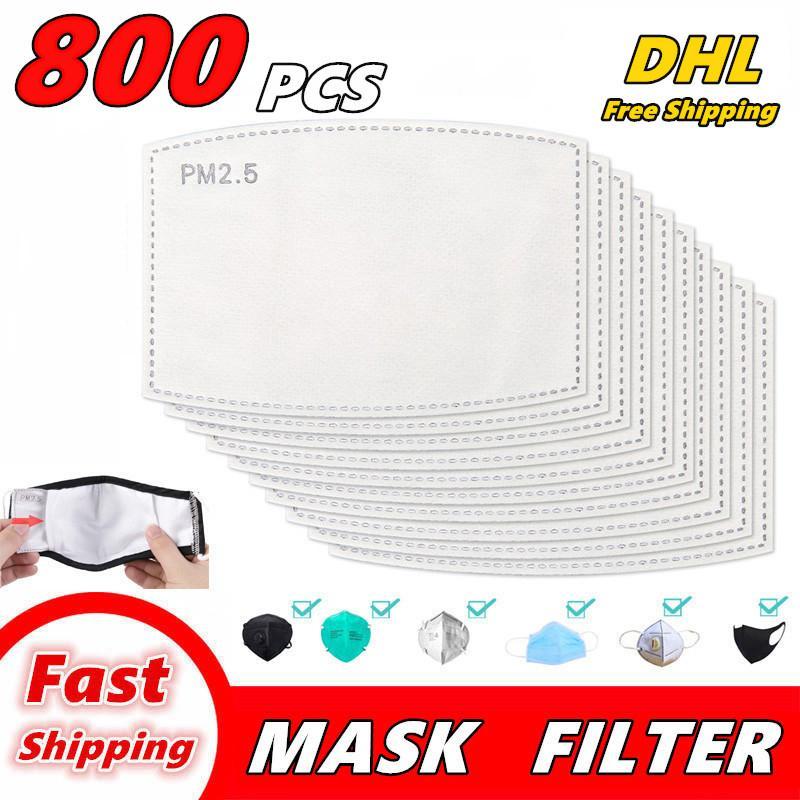 800 PCS Filtre de joint Haze activé PM2.5 Masques Masque de bouche Masque remplaçable Slice 5 Q01 Masque de filtre à charbon non tissé à la face non tissée pour Anti L QNTF