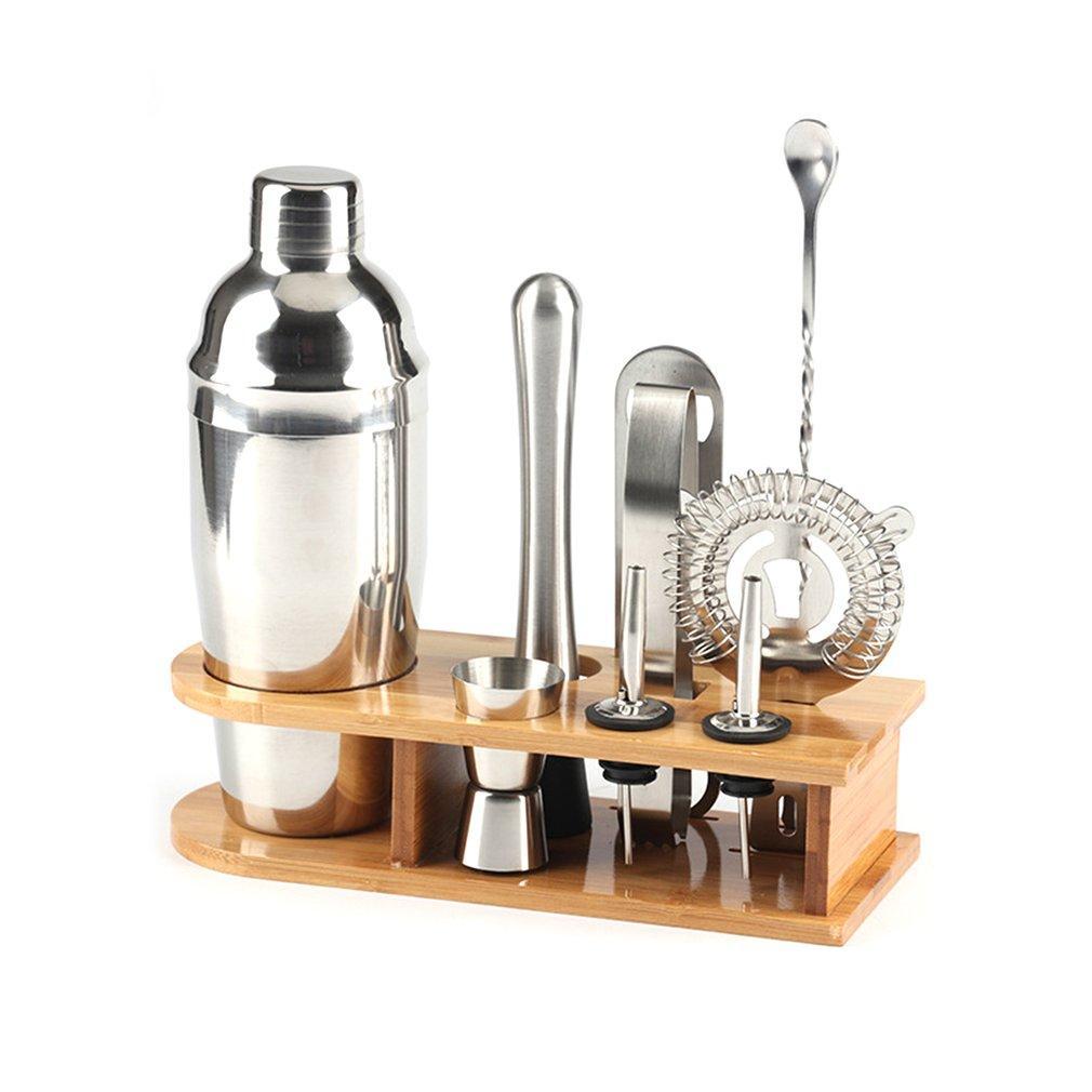 10pcs Edelstahl Cocktail Shaker Mixer Wein Martini Shaker Set mit Holzständer für Barkeeper Drink Party Bar Werkzeuge