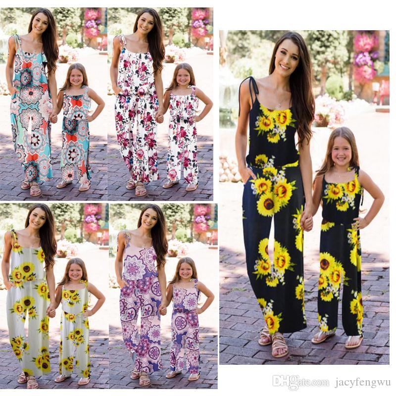 Mãe Natal e filha roupas Mamãe me Família Mesma roupa Vestuário Meninas Dress mulheres senhoras QZZW127 Romper macacões