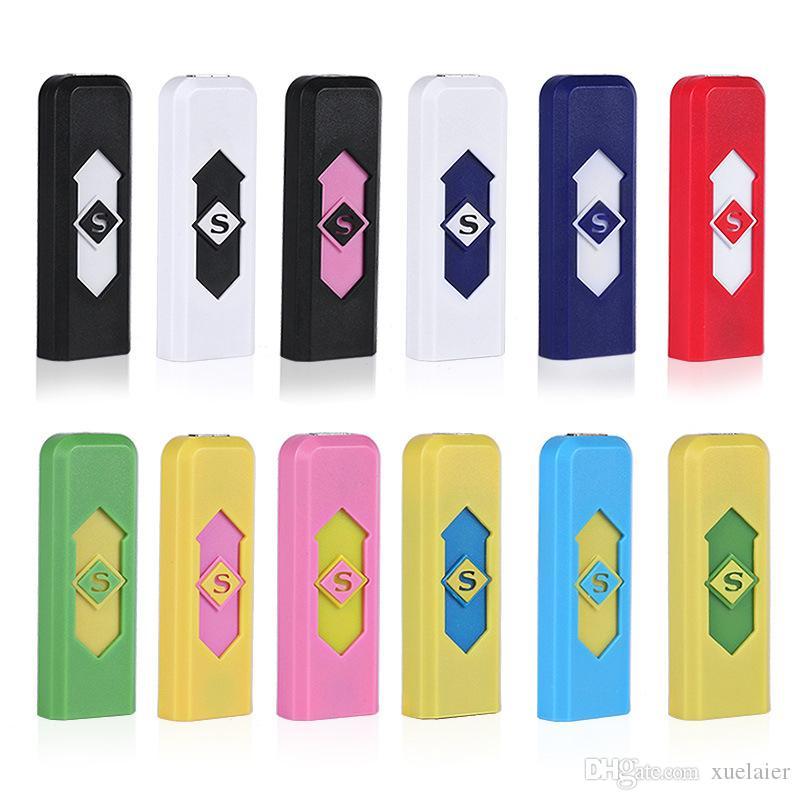Gros coloré USB rechargeable électronique briquet pour fumer cigarette flamme moins allume-cigare outils de fumer Accessoires