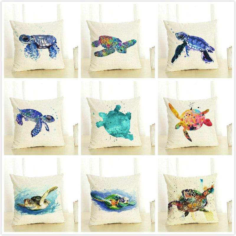 Cushion Cover Decorative Pillows New Turtle Cotton Pillow Home Cushion Cover Linen Printing 45x45cm Cushions Home Decoration Pillow Case