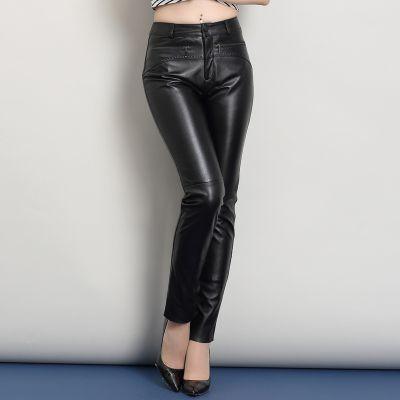 2020 mujeres nuevos pantalones de cuero de oveja genuinos reales O3