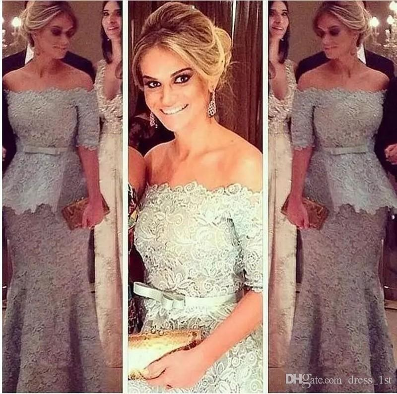New 2018 Silver Lace Mother of the The Bride Dresses Evening Wear Off The Shuoulder Neckline Half Length Sleeves Peplum Mermaid Formal Gowns