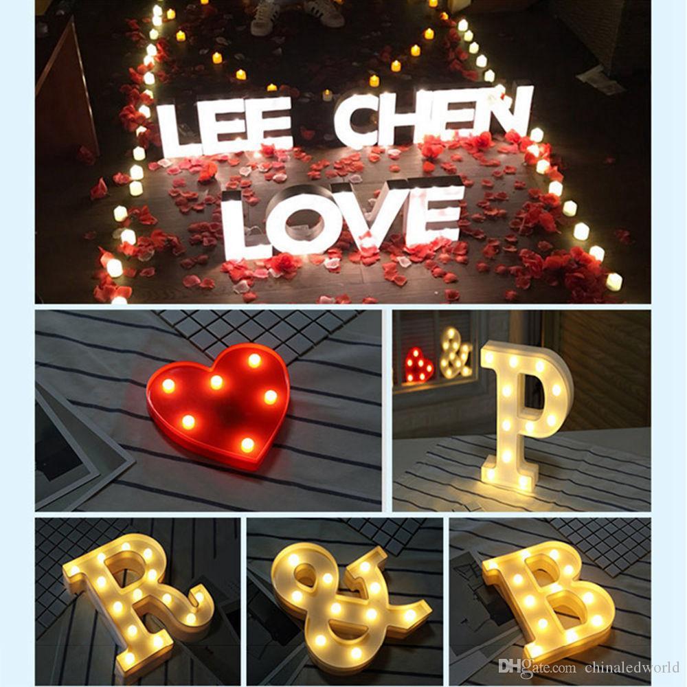 Diy carta símbolo sinal de iluminação do coração de plástico luzes led casamento decoração dia dos namorados festa de casamento decoração de noivado