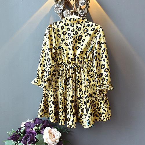 3a4e568e57e2618 DHgate Girls Весна 2019 Новое леопардовое платье с длинными рукавами для  детей Шифон Принцесса Длинная юбка