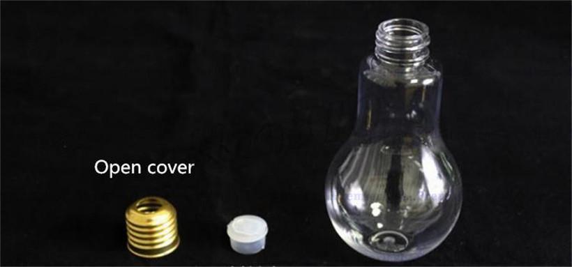Creative Bulb Water Bottle Cute Girl Transparent Tumbler Milk Juice Light Bulbs Water Glass Leak-proof Cup With Lid