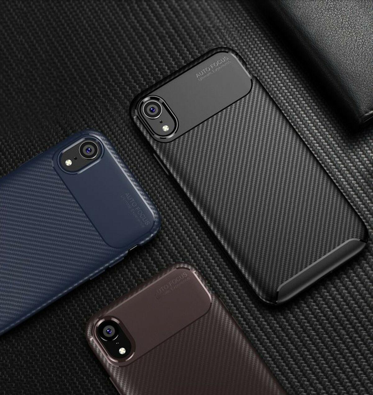 iphone için iPhone Karbon Elyaf Yumuşak Kapak TPU Silikon İnce kapak için Vaka 11 pro X XR Max 8 7 6 Plus