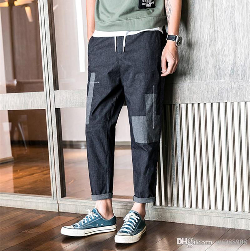 Men's Pants 2019 Pencil Casual Trousers Japan Style Patchwork Streetwear Joggers Drawstring Full Length 5XL Loose Men's Pants