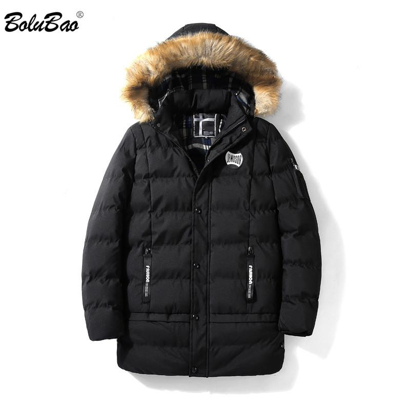 BOLUBAO Moda Men Hoodies Parka Fur Collar Sólidos Jacket Cor Inverno confortável e acolhedora Grosso do Men Brasão Parkas Masculino