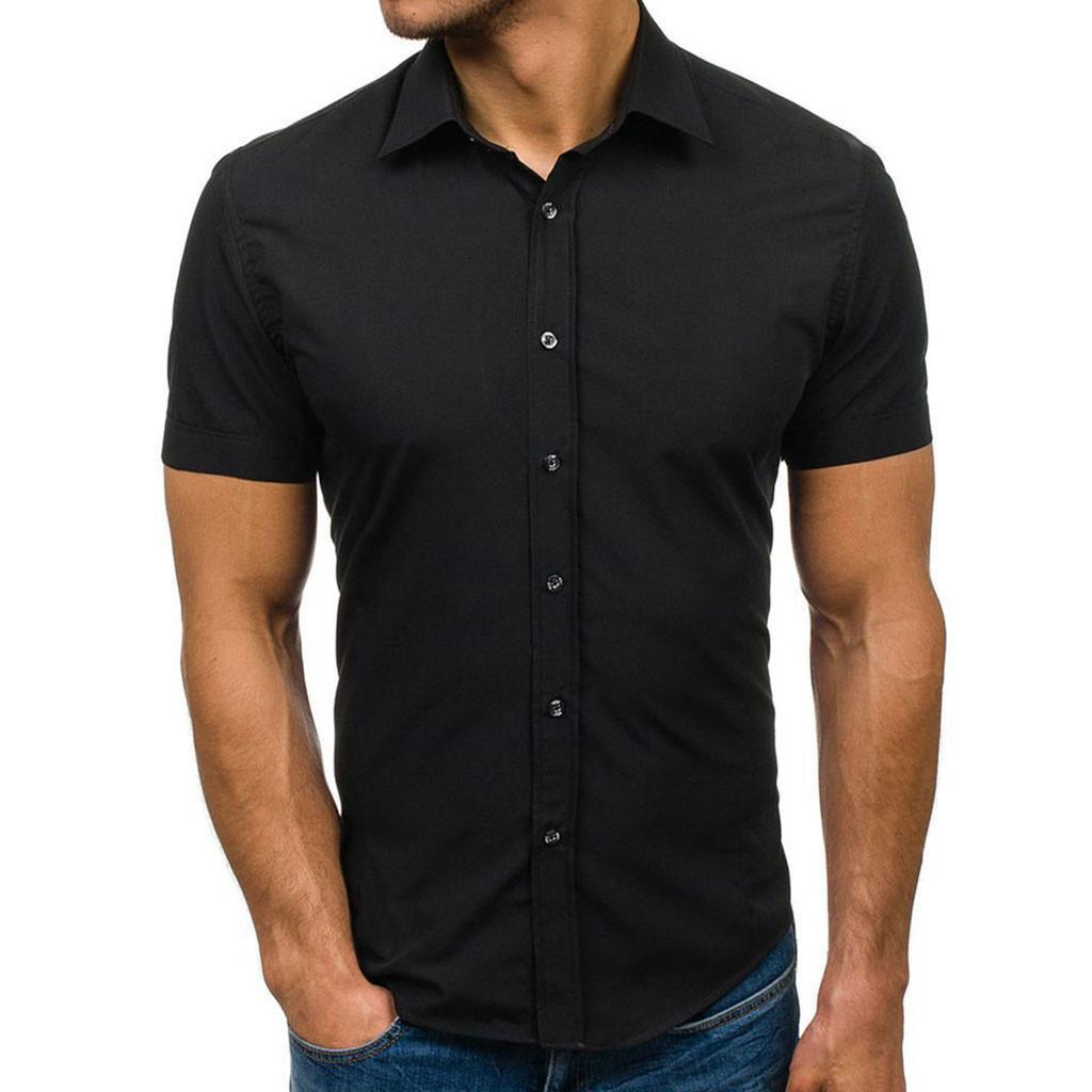 Vogue respirável Men Black White Shirt Men Padrão Botão emenda Casual Lapel manga curta Camisas Camisas Masculina