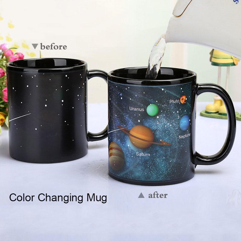 النظام الشمسي سحر القهوة القدح تغيير لون أكواب الإبداعية السيراميك السفر الشاي الحليب الكؤوس أفضل عيد الميلاد القدح على الأصدقاء T200506